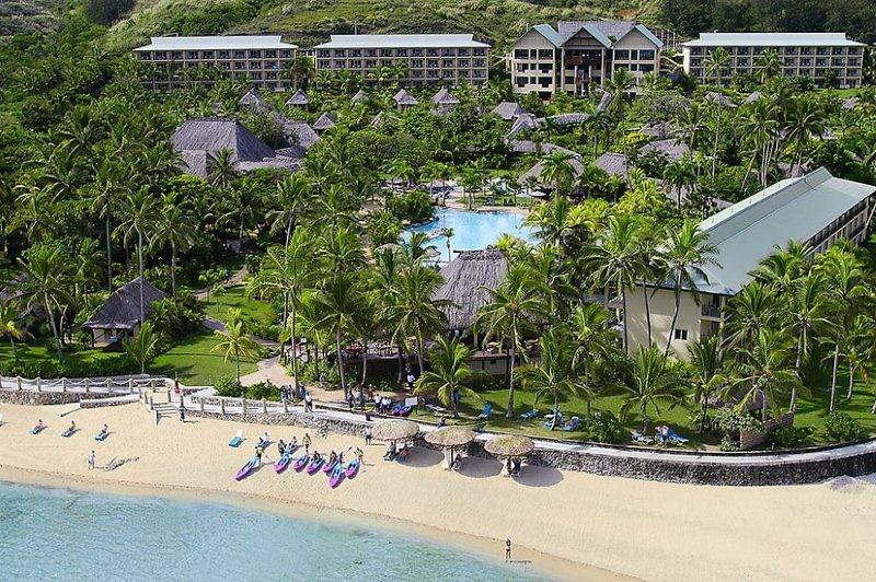 Outrigger on the Lagoon Fiji Aerial Shot
