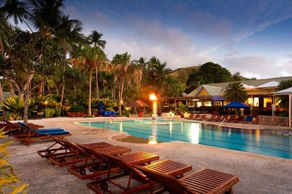 Pool in evening @ Fiji Hideaway Resort & Spa