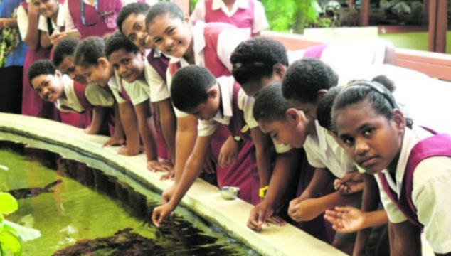 Students of Saint Joan of Arc School in Sigatoka feed turtles at the Kula Eco Park at Korotogo on 16 May 2018. Photo: Arieta Vakasukawaqa