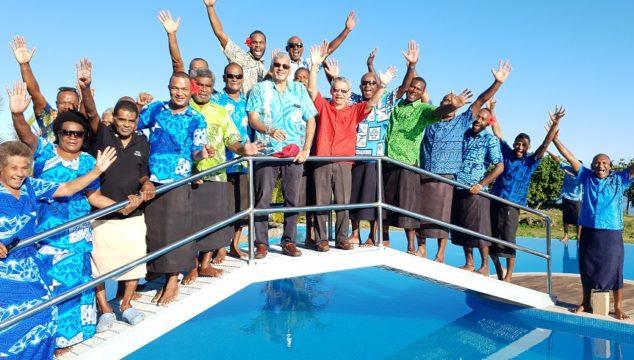 Hexagon Group chairman Hafiz Khan and MD Dixon Seeto with traditional landowners at Yadua Bay Resort and Villas.